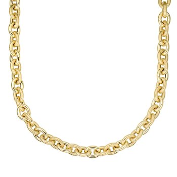 14K Gold Alternating Oval & Textured Heritage Link