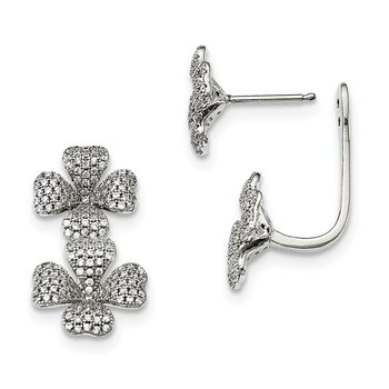 Sterling Silver CZ Brilliant Embers 4-Leaf Clover Earrings