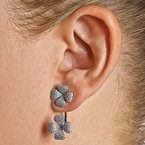 Quality Gold Sterling Silver CZ Brilliant Embers 4-Leaf Clover Earrings
