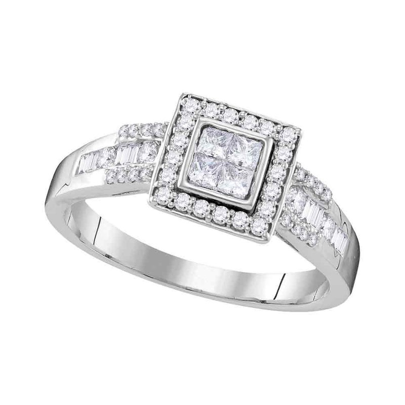 Gold-N-Diamonds 10kt White Gold Womens Princess Diamond Square Cluster Bridal Wedding Engagement Ring 1/2 Cttw
