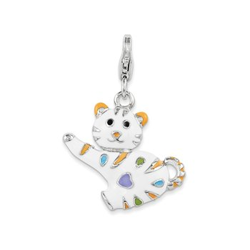 Sterling Silver RH w/ Lobster Clasp Enamel Cat Charm