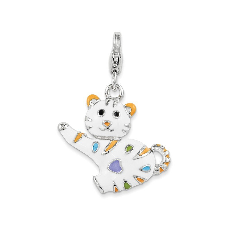 Quality Gold Sterling Silver and Enamel Cat w/ Lobster Clasp Charm