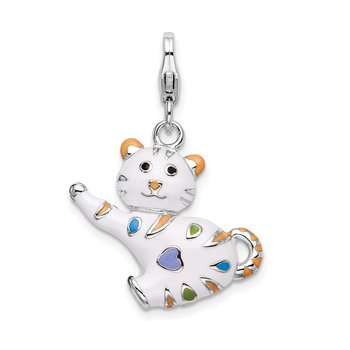 Sterling Silver Amore La Vita Rhodium-pl Polished Enameled Cat Charm