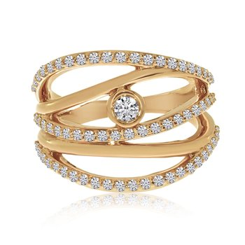 14k Rose Gold Rollover Diamond Ring
