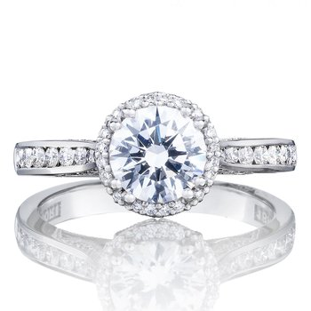 Dantela Halo Platinum Engagement Ring