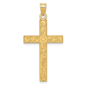 14k Etched Floral Cross Pendant