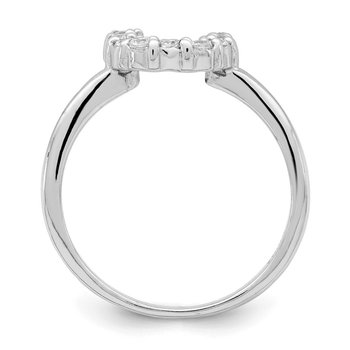 Sterling Silver Polished U Shaped Clear CZ Ring