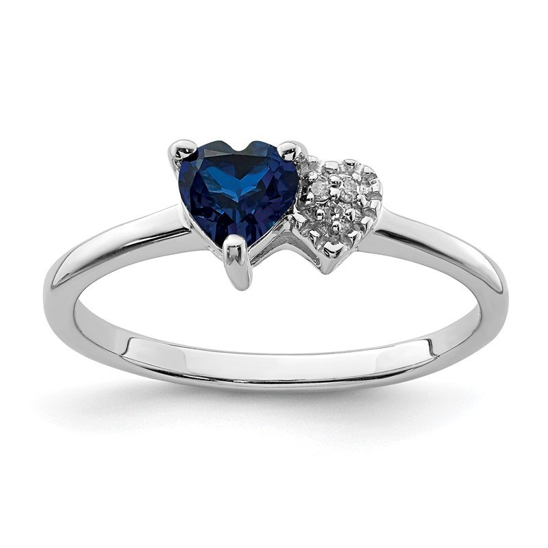 Quality Gold Sterling Silver Polished Created Sapphire and Diamond Ring