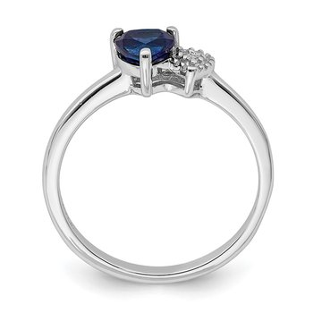 Sterling Silver Polished Created Sapphire and Diamond Ring