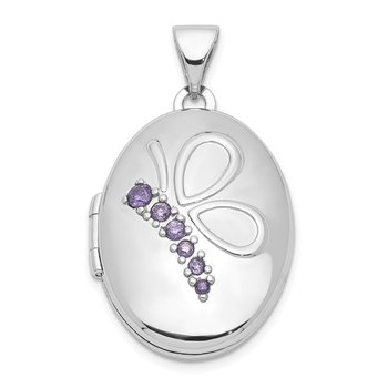 Sterling Silver Rhodium-plated 21mm Oval w/Butterfly & CZ Locket