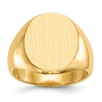 14k 17.5x14.5mm Closed Back Men's Signet Ring
