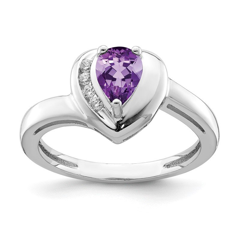 Quality Gold Sterling Silver Rhodium-plated Amethyst & White Topaz Heart Ring