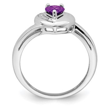 Sterling Silver Rhodium-plated Amethyst & White Topaz Heart Ring