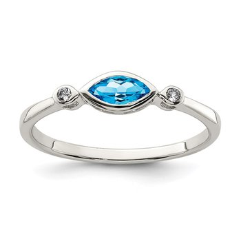 Sterling Silver Polished Blue Topaz and White Topaz Ring