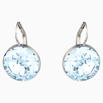 Bella Pierced Earrings, Blue, Rhodium plated