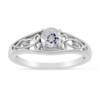 14k White Gold Round White Topaz And Diamond Ring