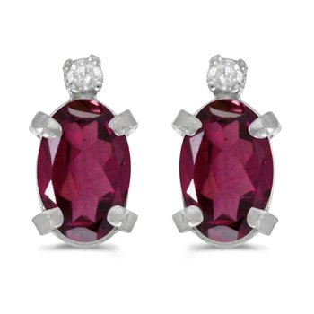 Sterling Silver Oval Rhodolite Garnet and Diamond Earrings