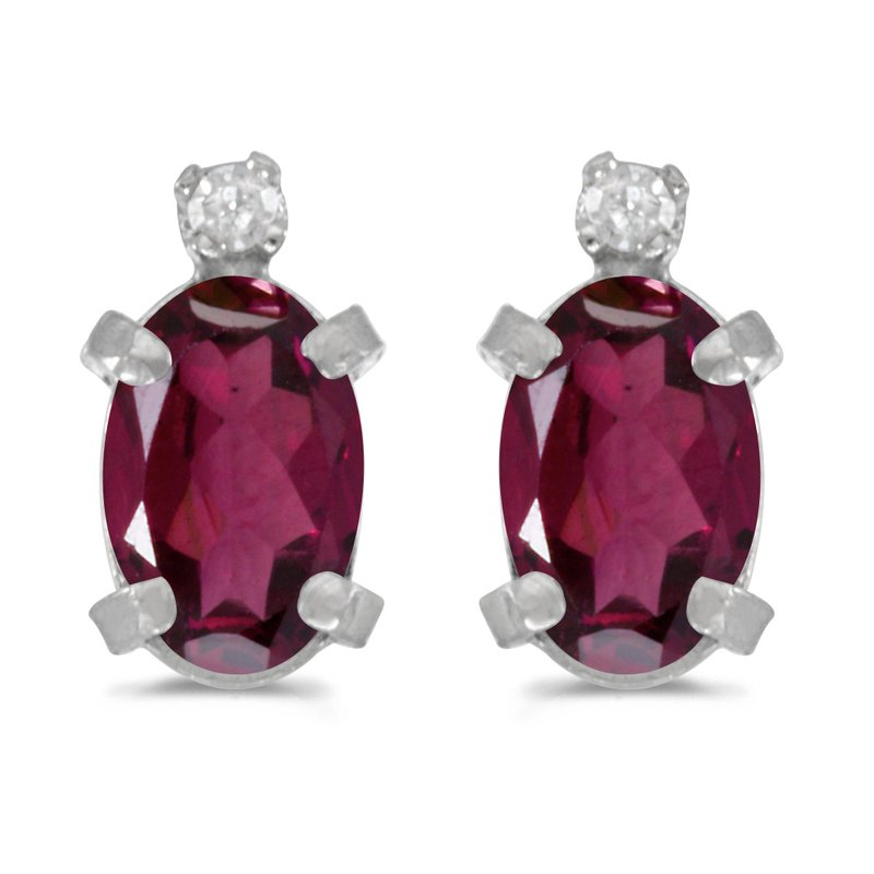 Color Merchants Sterling Silver Oval Rhodolite Garnet and Diamond Earrings