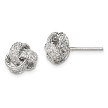 Sterling Silver CZ Love Knot Post Earrings