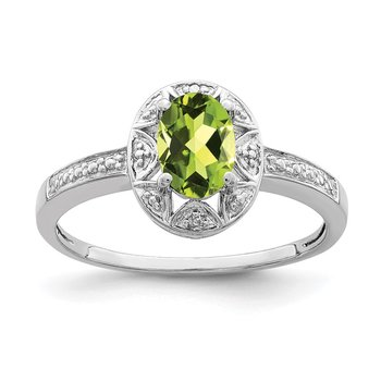 Sterling Silver Rhodium-plated Diam. & Peridot Ring