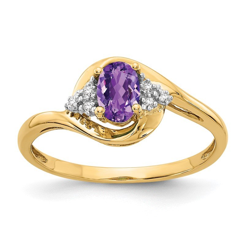 Quality Gold 14k Amethyst and Diamond Ring