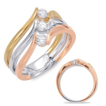 Rose & White & Yellow Gold Fashion Ring