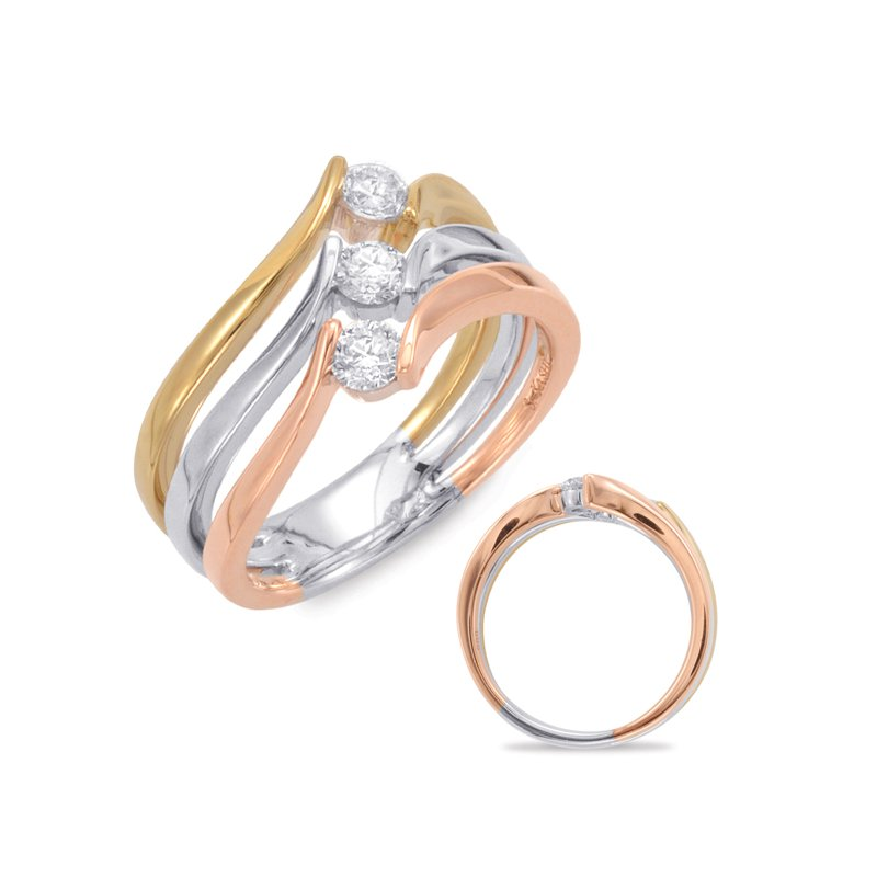 S. Kashi  & Sons Rose & WhIte & Yellow Gold Fashion Ring