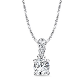 Round Diamond Solitaire Pendant with Diamond Bale in 14K White Gold (1/2ct. tw.)