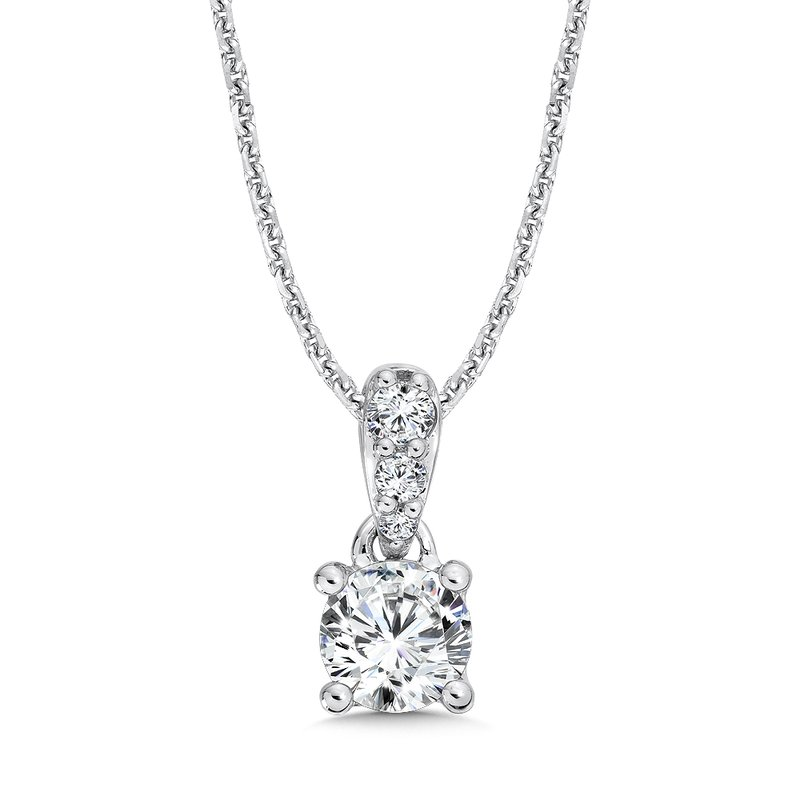 Caro74 Round Diamond Solitaire Pendant with Diamond Bale in 14K White Gold (1/2ct. tw.)