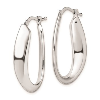 Sterling Silver Polished Rhodium Plated Oval Hollow Hoop Earrings