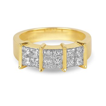 14K YG Diamond Quad Ring