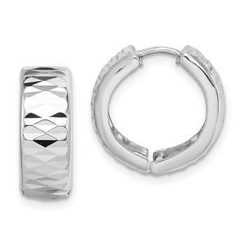 Sterling Silver Rhodium Diamond Cut Polished Hinged Hoop Earrings