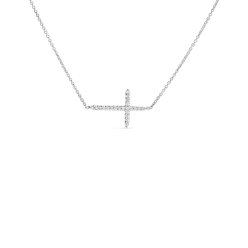 18KT GOLD DIAMOND INTEGRATED SLIVER CROSS NECKLACE