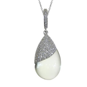 14K White Gold Green Amethyst Pear-Shaped Cabochon and Diamond Pendant