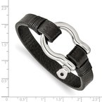 Chisel Stainless Steel Polished Black Leather 8.25in Shackle Bracelet