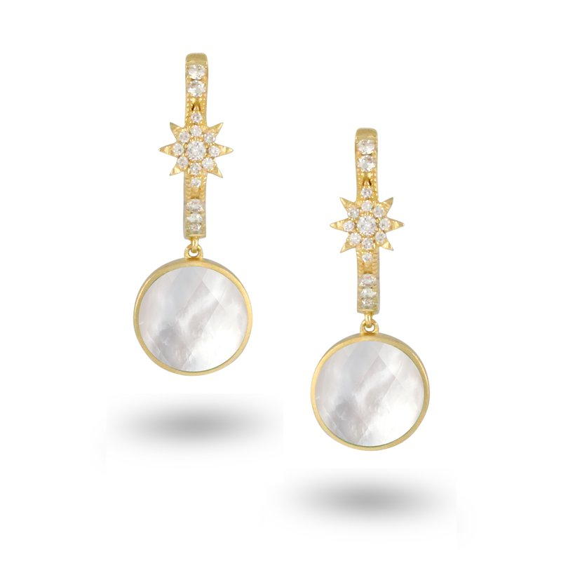 Doves White Orchid Diamond Dangles 18KY