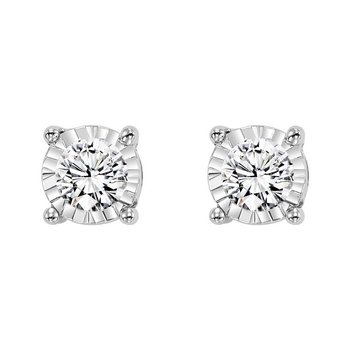 Four Prong Diamond Stud Earrings in 14K White Gold (1/2 ct. tw.) SI3 - G/H