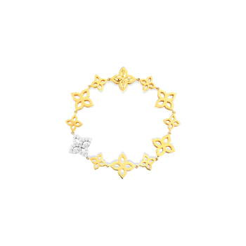 18K GOLD & DIA FLOWER OUTLINE ALTERNATING SM & MEDIUM