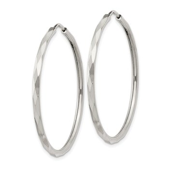 Sterling Silver D/C 2.5x35mm Endless Hoop Earrings