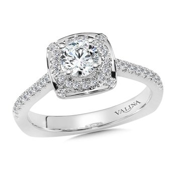 Diamond Halo Engagement Ring Mounting in 14K White Gold (.21 ct. tw.)