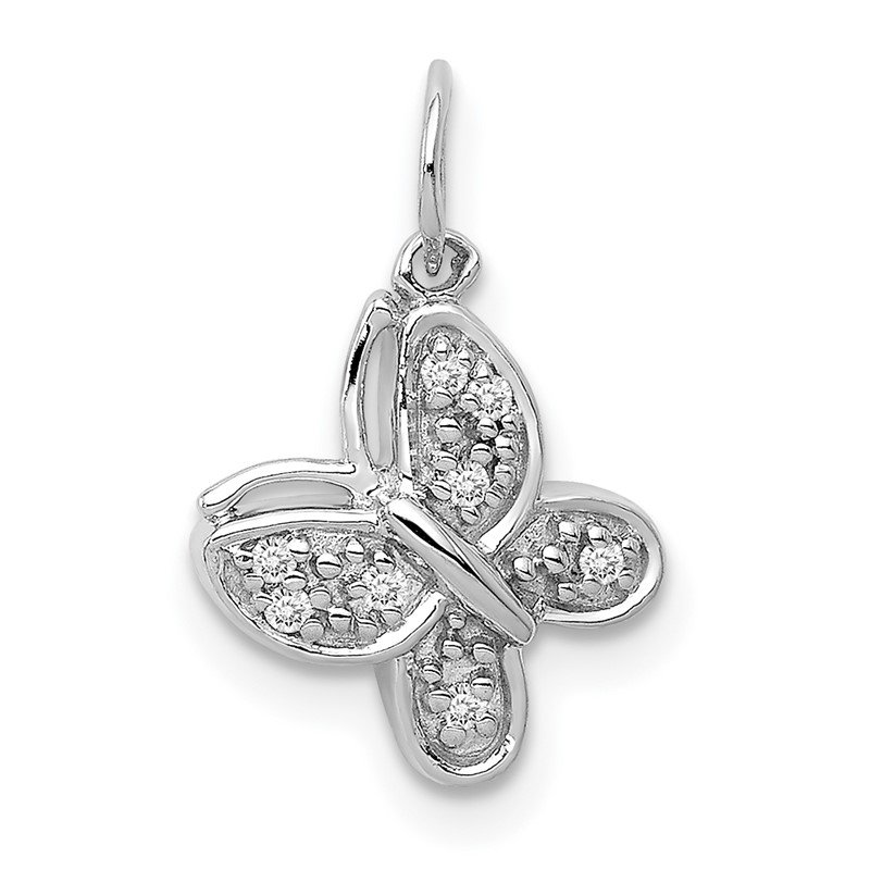 Quality Gold 14k White Gold Diamond Butterfly Charm