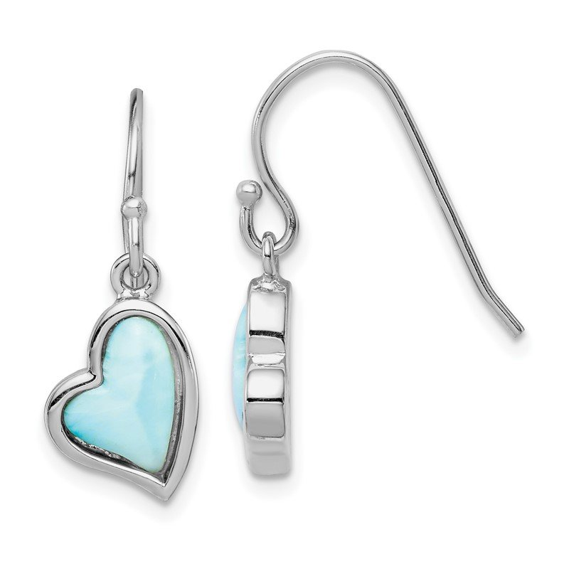 Quality Gold Sterling Silver Rhodium-plated Light Blue Larimar Heart Dangle Earrings