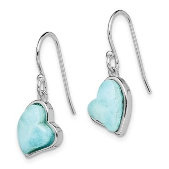 Sterling Silver Rhodium-plated Light Blue Larimar Heart Dangle Earrings