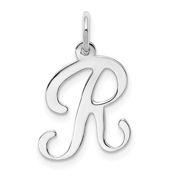 14KW White Gold Script Letter R Initial Charm