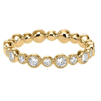 14K Yellow Gold Bezel Eternity Wedding Band