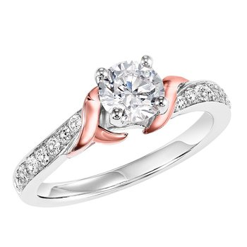 14K Diamond Engagement Ring 1/4 ctw with 3/4 ct Center