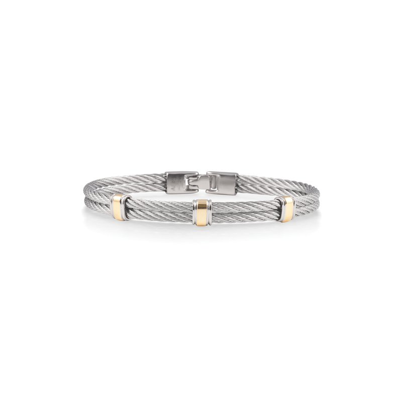 ALOR Grey Cable Bracelet with Three Yellow Gold Stations