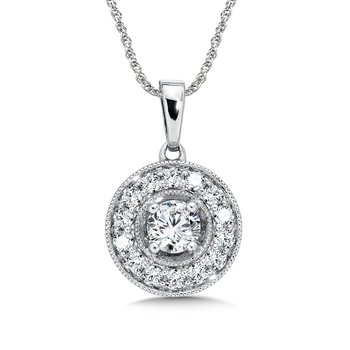 Pave and prong set Diamond Halo Pendant, 14k White Gold  (3/4 ct. tw.) GH/SI1-SI2