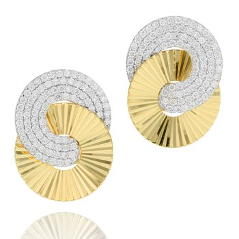 Yellow gold diamond large Aura interlocking stud earrings