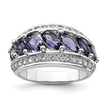 Sterling Silver Rhodium-plated Marquise Iolite/Wht Topaz 7-stone Ring